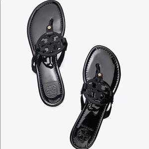 NWB Tory Burch Miller Sandals Black Patent